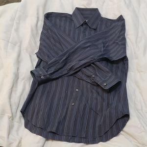 Brioni striped cotton button down shirt blue sz S